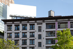 Big, white, blank, billboard on the roof. Royalty Free Stock Photo