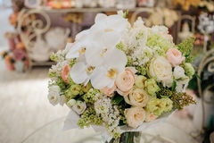 Big white bouquet with huge orchids Royalty Free Stock Image