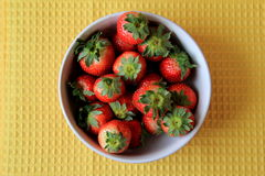 Big white bowl of just washed strawberries Stock Images