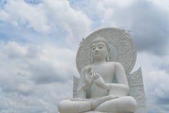 Big White Buddha image. Big White Buddha image in Spiritual Center at Saraburi, Thailand Stock Photo