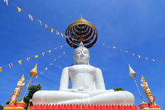 Big white buddha sitting on thai  temple Stock Image