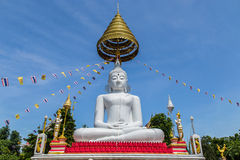 Big white buddha sitting on thai  temple Royalty Free Stock Photos