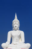 Big white buddha statue and blue sky Royalty Free Stock Photo