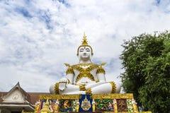 Big white buddha statue sitting Royalty Free Stock Photo