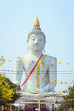 Big white buddha statue in temple Stock Photo