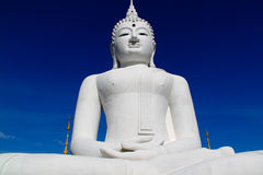 The Big White Buddha in thailand temple Royalty Free Stock Image