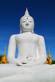 The Big White Buddha in thailand temple Royalty Free Stock Photography