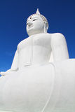 The Big White Buddha in thailand temple Stock Photography
