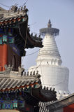 Big white buddhist dagoba in Beijing. Royalty Free Stock Photos
