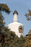 Big white buddhist dagoba in imperial Beihai park. Royalty Free Stock Image