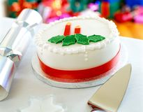 Big white Christmas cake decorated with molasses royalty free stock photos