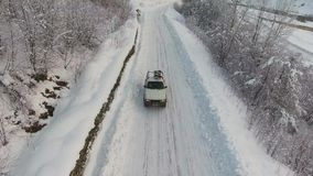 Car By Side Of Road In Snowy Weather Stock Footage - Video