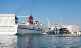 Big white cargo ferry moored in Fish port of Burgas Royalty Free Stock Image
