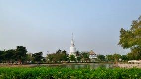 Big white chedi  and lake in Bangkok Royalty Free Stock Image