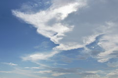 Big white cloud on sky in sunny day Stock Photo