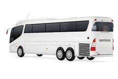 Big White Coach Tour Bus with Blank Surface for Yours Design. 3d Rendering. Big White Coach Tour Bus with Blank Surface for Yours Design on a white background royalty free illustration
