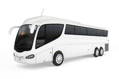 Big White Coach Tour Bus with Blank Surface for Yours Design. 3d Stock Images