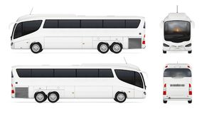 Big White Coach Tour Bus with Blank Surface for Yours Design. 3d Stock Image
