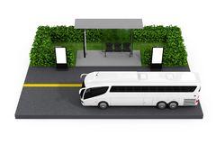 Big White Coach Tour Bus Near Bus Stop Station with Blank Billbo. Ards on a white background. 3d Rendering Stock Photos