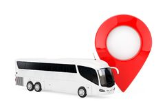 Big White Coach Tour Bus near Target Pin Pointer. 3d Rendering. Big White Coach Tour Bus near Target Pin Pointer on a white background. 3d Rendering vector illustration