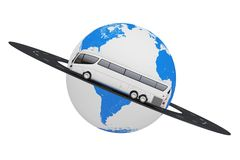 Big White Coach Tour Bus over Road Around Earth Globe. 3d Render Royalty Free Stock Images
