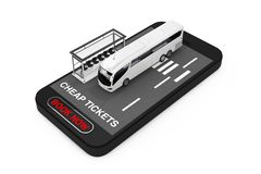 Big White Coach Tour Bus with Bus Station over Mobile Phone with Cheap Tickets Sign and Book Now Button. 3d Rendering. Big White Coach Tour Bus with Bus Station stock images