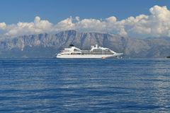 Big white cruise ship in calm blue sea Royalty Free Stock Photography