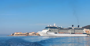 Big white cruise ship moored in port of Ajaccio Stock Images