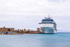 Big white cruise ship in port of the island  Rhodes Greece Stock Images