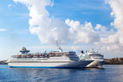Big white cruise ship in the port of island  Rhodes Greece Royalty Free Stock Photos