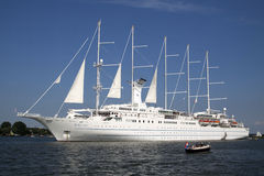 Big white Cruisship The Wind Surf. Royalty Free Stock Image