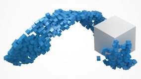 Big white cube and small cubes flow. 3d style vector illustration. Suitable for any banner, ad, technology, big data and abstract themes royalty free illustration