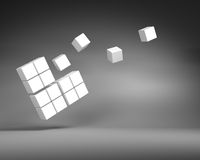 Big White Cube of Small Cubes on Gray Background Stock Photos