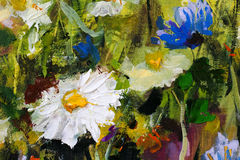 Big white daisy flower camomiles closeup macro oil painting on canvas. Modern Impressionism.Impasto artwork. Stock Photo