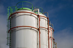 Big White gaz and fuel Storage Tanks Royalty Free Stock Images