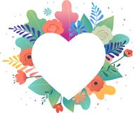 Big white heart with colorful flowers in background. Thank you and birthday card, Mother s day greetings. Vector stock illustration