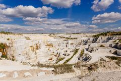 A big white marble quarry, mining quarry. Industry, the overall plan of the quarry royalty free stock photos