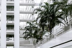 Big white office building blue sky palm construction many high tech Den Haag Hague inside within indoors modern neoteric new palm. Modern high-tech design of Stock Photo