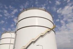 Big white oil tanks royalty free stock photo