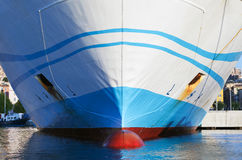 Big white passenger ferry bow fragment Royalty Free Stock Images