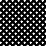 Big White Polka Dots on Black, Seamless Stock Photo