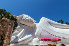 Big white reclining buddha statue Stock Photography