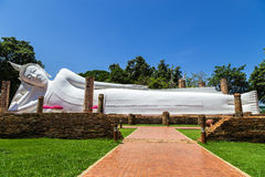 Big white reclining buddha statue Royalty Free Stock Photography
