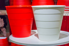 Big white and red color plastic basket Stock Photography