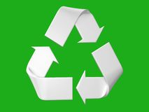 Big white and relief recycle's logo Stock Photography