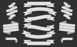 Big white Ribbons Set, Isolated On black Background, Vector Illustration Stock Image