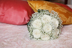 Big white roses bouquet Stock Images