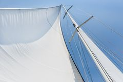 Big white sail hoisted Royalty Free Stock Image