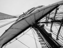 Big white sail of a ship royalty free stock photo