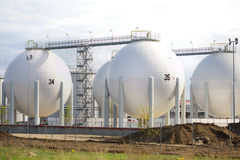 Big White Storage Tanks. Big White gaz and fuel Storage Tanks Royalty Free Stock Photos